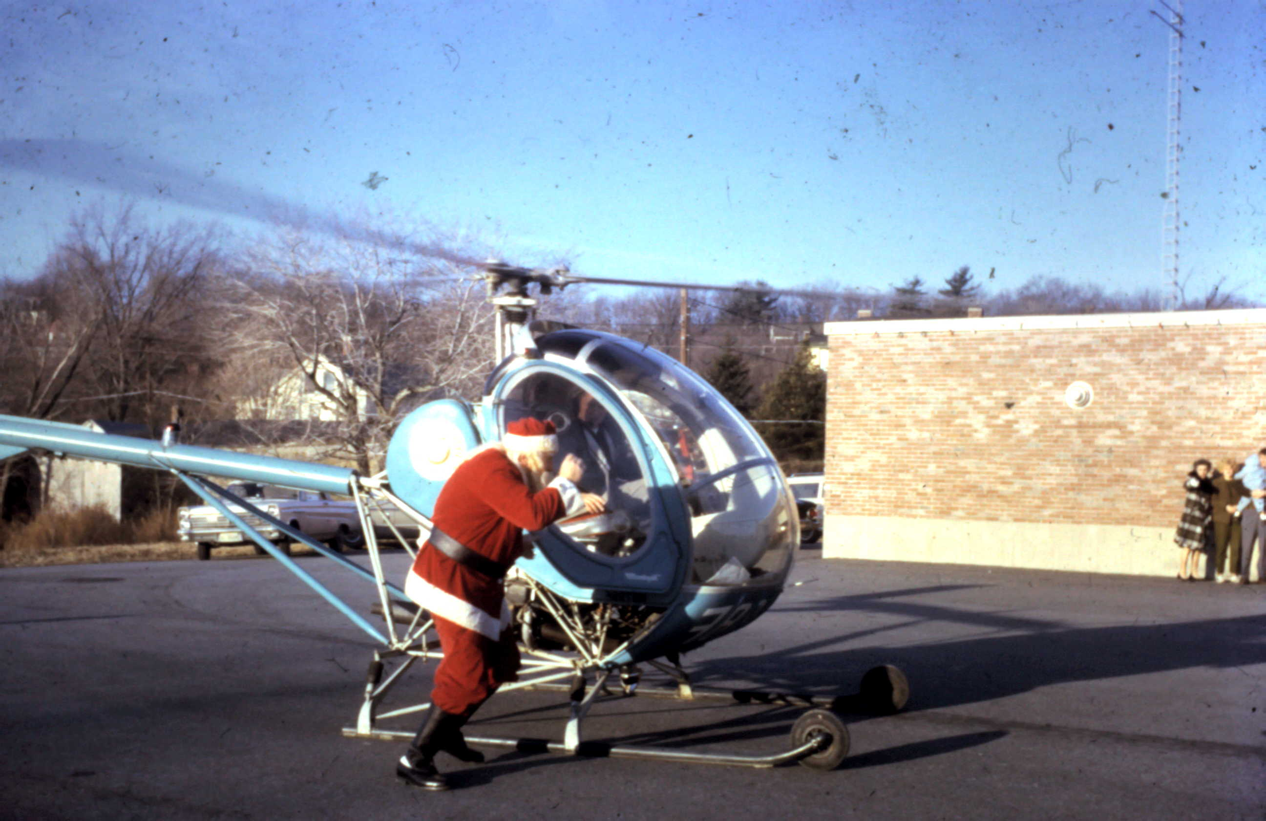 Santa next to a helicopter in 1968