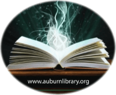 Auburn Public Library Logo - open book with light emanating